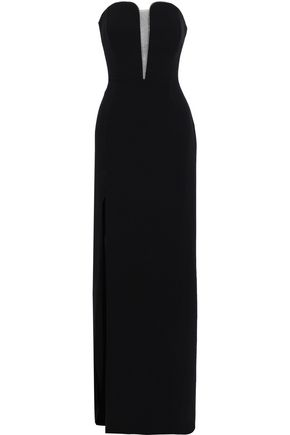 HALSTON HERITAGE Strapless bead-embellished crepe gown