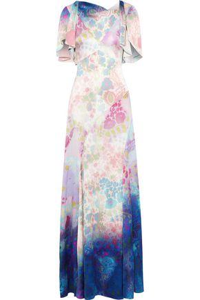 PETER PILOTTO Floral-print dégradé hammered stretch-silk gown