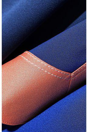 PETER PILOTTO Asymmetric draped color-block satin-crepe midi skirt
