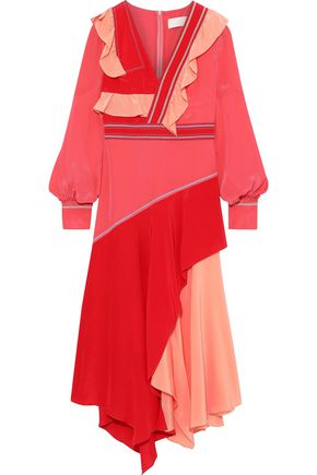 PETER PILOTTO Asymmetric draped color-block silk crepe de chine midi dress