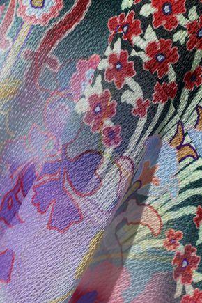 PETER PILOTTO Tie-neck floral-print dégradé hammered stretch-silk gown