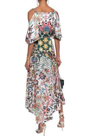 PETER PILOTTO Cold-shoulder floral-print hammered stretch-silk midi dress