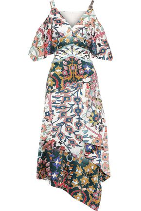 PETER PILOTTO Cold-shoulder floral-print hammered stretch-silk midi dress