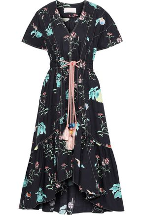 PETER PILOTTO Tasseled floral-print cotton-poplin dress