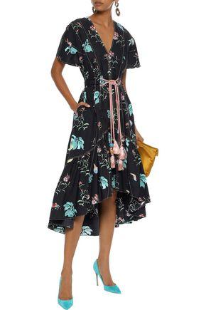 PETER PILOTTO Tasseled floral-print cotton-poplin dress