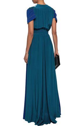 PETER PILOTTO Tasseled color-block silk crepe de chine maxi dress