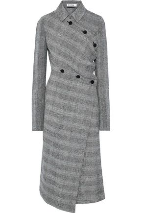 JIL SANDER Asymmetric Prince of Wales checked wool-blend tweed coat
