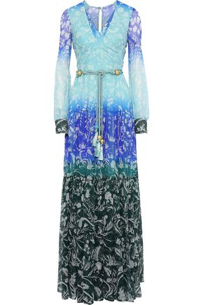 PETER PILOTTO Tasseled floral-print dégradé silk-georgette gown