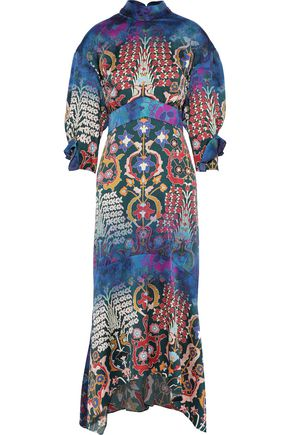 PETER PILOTTO Bow-detailed floral-print hammered stretch-silk maxi dress