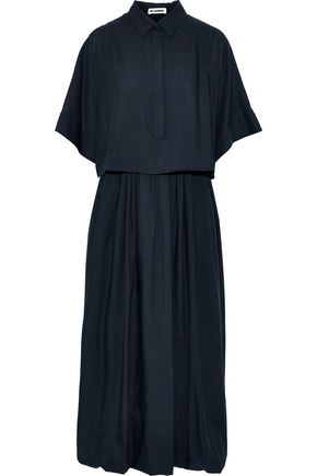 JIL SANDER Layered wool-voile midi shirt dress