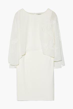 HALSTON HERITAGE Cape-effect embroidered chiffon and stretch-crepe mini dress
