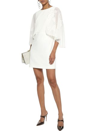 f8bd87c8c26a HALSTON HERITAGE Cape-effect embroidered chiffon and stretch-crepe mini  dress