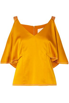 PETER PILOTTO Cold-shoulder satin-crepe top