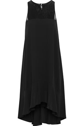 HALSTON HERITAGE Embroidered tulle-paneled crepe de chine dress