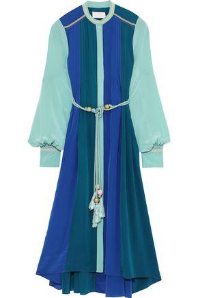 PETER PILOTTO Tasseled color-block silk crepe de chine midi dress