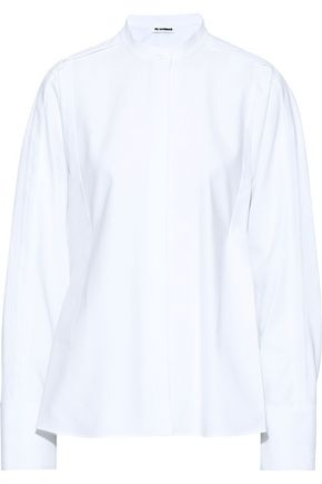 JIL SANDER Oversized pleated cotton-piqué shirt