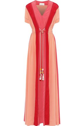 PETER PILOTTO Tasseled color-block silk crepe de chine maxi dress