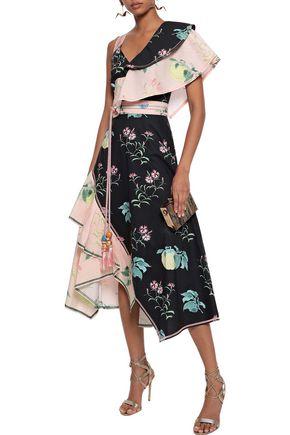 PETER PILOTTO Asymmetric ruffled floral-print cotton-poplin midi dress