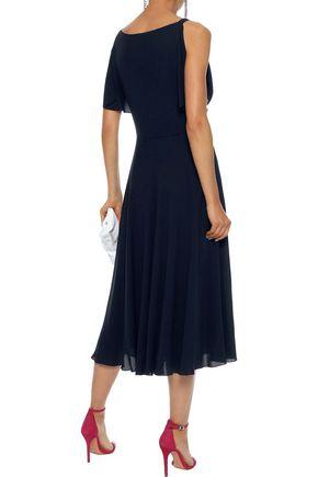 VALENTINO Draped stretch-silk crepe midi dress