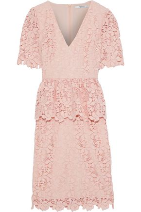 BADGLEY MISCHKA Guipure lace peplum dress