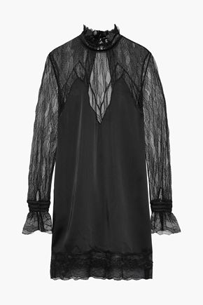 JONATHAN SIMKHAI Open-back satin-paneled lace mini dress