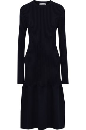 JIL SANDER Felt-paneled ribbed cashmere midi dress