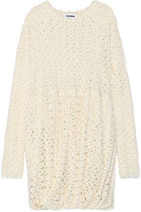 JIL SANDER Gathered crochet-knit wool-blend dress
