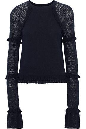 JONATHAN SIMKHAI Ruffle-trimmed pointelle-knit cotton-blend top