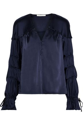 JONATHAN SIMKHAI Button-embellished shirred satin top