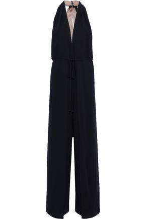 VALENTINO Draped wool-crepe halterneck jumpsuit