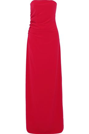 HALSTON HERITAGE Strapless gathered crepe gown
