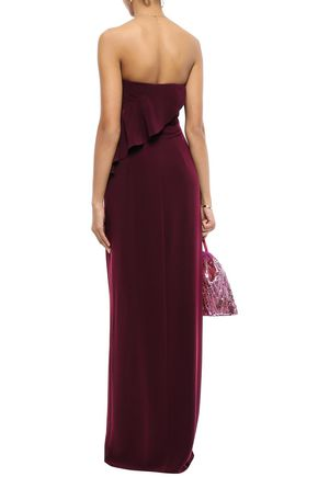 HALSTON HERITAGE Strapless draped stretch-crepe gown