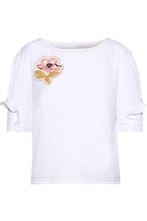 PETER PILOTTO Appliquéd ruffle-trimmed cotton-poplin blouse