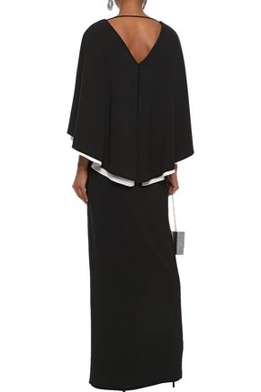 HALSTON HERITAGE Cape-back two-tone stretch-crepe gown