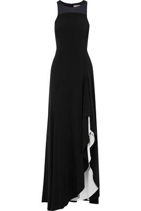 HALSTON HERITAGE Satin-paneled ruffled crepe gown