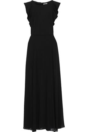 HALSTON HERITAGE Cutout cady and chiffon gown