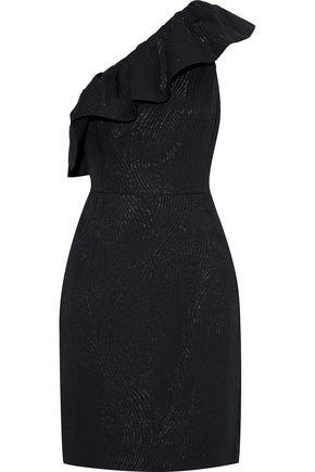 HALSTON HERITAGE One-shoulder ruffled metallic jacquard mini dress