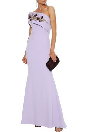 BADGLEY MISCHKA One-shoulder embellished cady gown