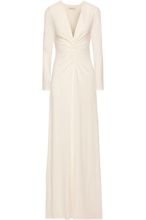 HALSTON HERITAGE Ruched stretch-jersey gown