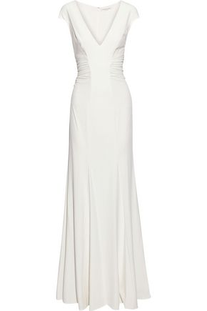 HALSTON HERITAGE Cutout ruched stretch-crepe gown