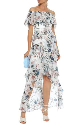 BADGLEY MISCHKA Off-the-shoulder ruffled floral-print chiffon gown