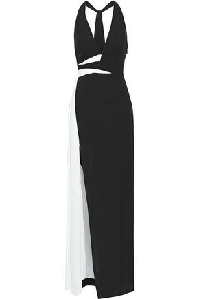 HALSTON HERITAGE Two-tone crepe gown
