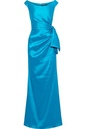BADGLEY MISCHKA Bow-embellished faille gown