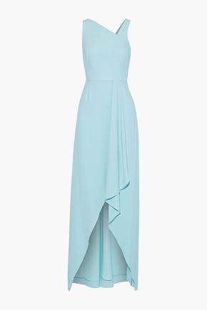 HALSTON HERITAGE Wrap-effect crepe gown