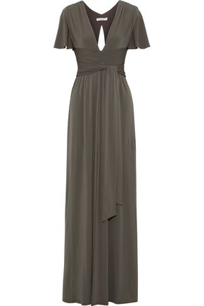 HALSTON Split-front stretch-jersey gown
