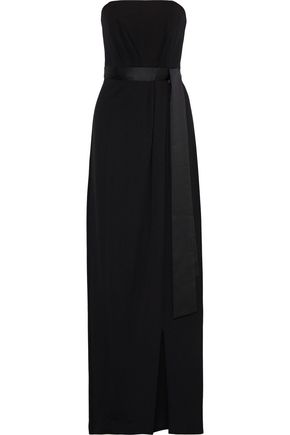 HALSTON HERITAGE Strapless satin-trimmed pleated crepe gown