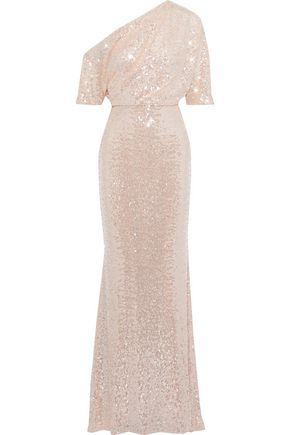 BADGLEY MISCHKA Fluted off-the-shoulder sequined mesh gown