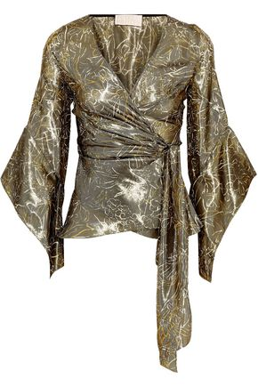 PETER PILOTTO Metallic silk-blend floral-jacquard wrap blouse