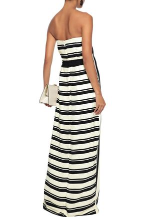 HALSTON HERITAGE Strapless wrap-effect striped crepe gown