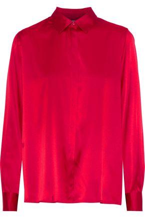 ROSETTA GETTY Draped silk-blend satin shirt